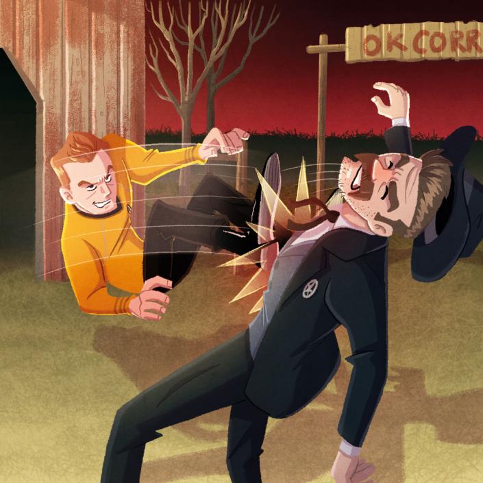"illustration from the ""Star Trek - Kirk fu Manual"" book by Christian Cornia"