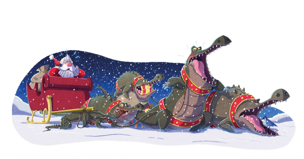 """Illustration from """"The Unicorns Who Saved Christmas"""" book, illustrated by Christian Cornia"""