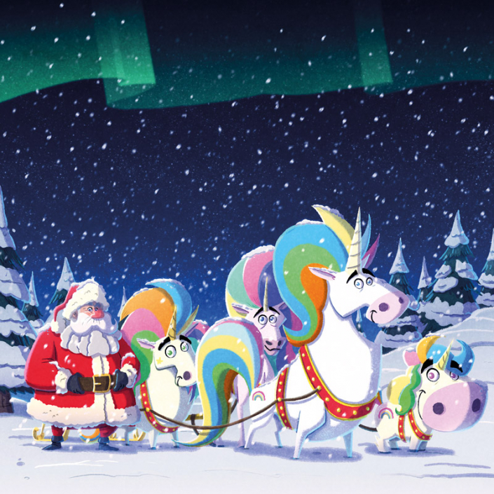 "cover of ""The Unicorns Who Saved Christmas"" book, illustrated by Christian Cornia"