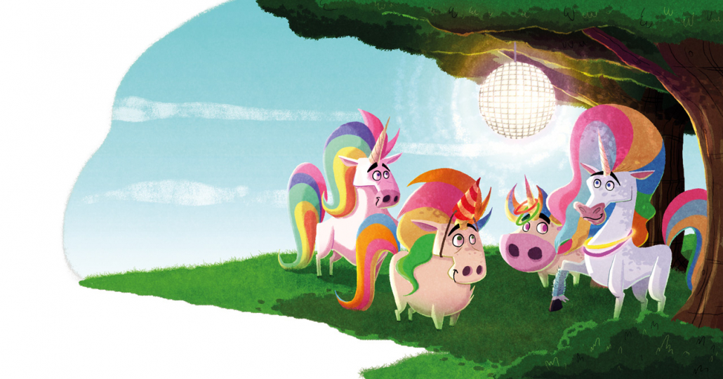"""illustration from the """"When Unicorns Poops"""" by Christian Cornia"""